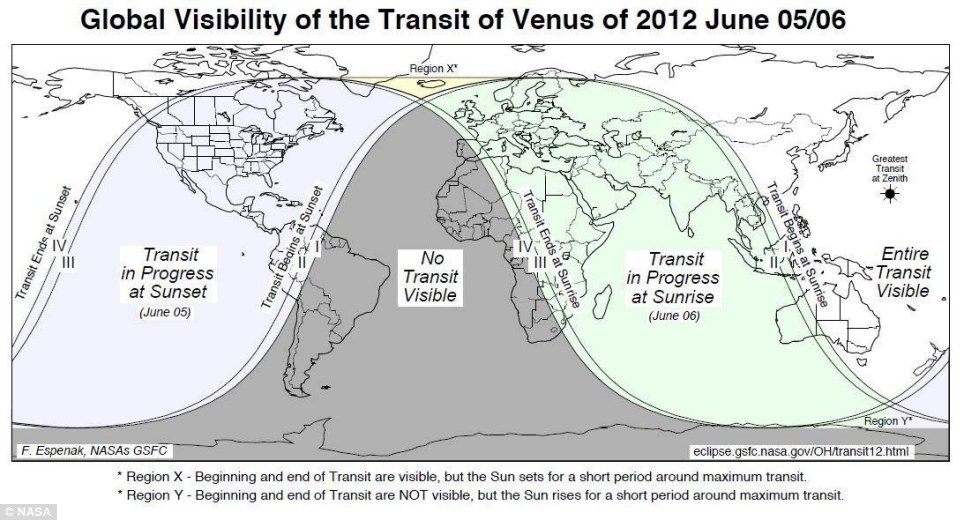 Venus Transit Map (NASA)