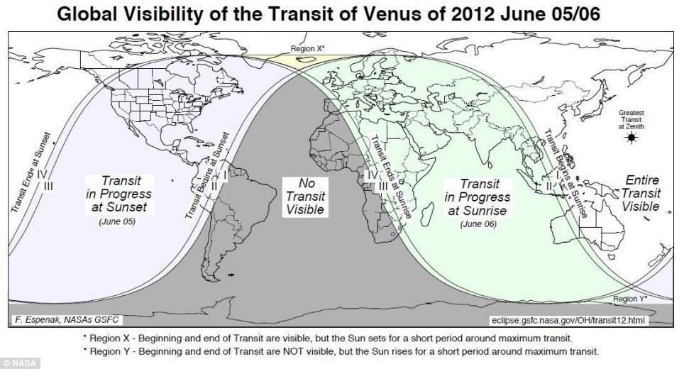 Venus Transit Map (NASA)